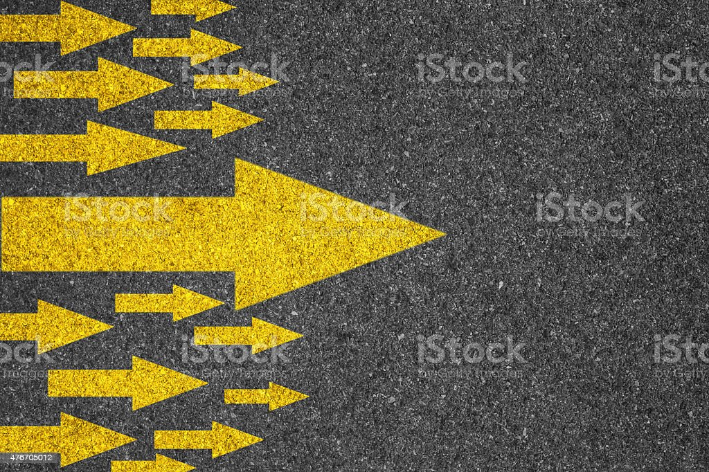 Direction - Arrow sign on road stock photo