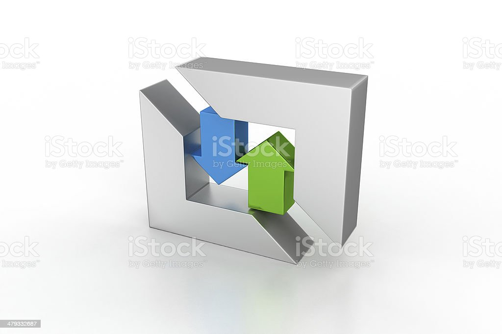 Direction Arrows Green Up And Blue Down In Square Stock Photo More