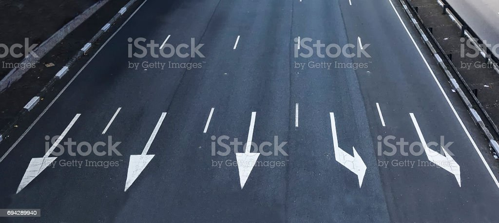 Direction arrows road marking stock photo
