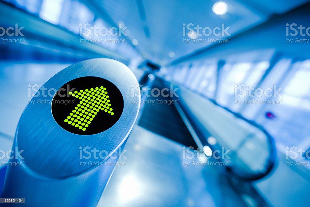 Direction, Green Arrow Sign, Airport or Station royalty-free stock photo