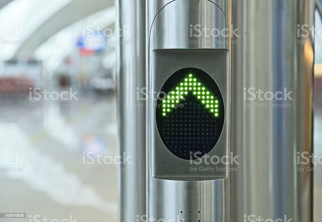 Direction, Green Arrow Sign, Airport royalty-free stock photo