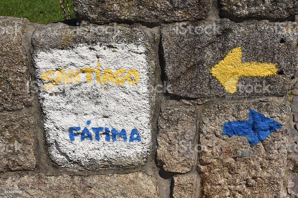 Direction indicator Fatima Saint James Way  in Porto, Portugal stock photo