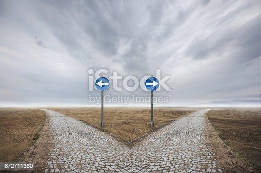 Road sign direction on desert.