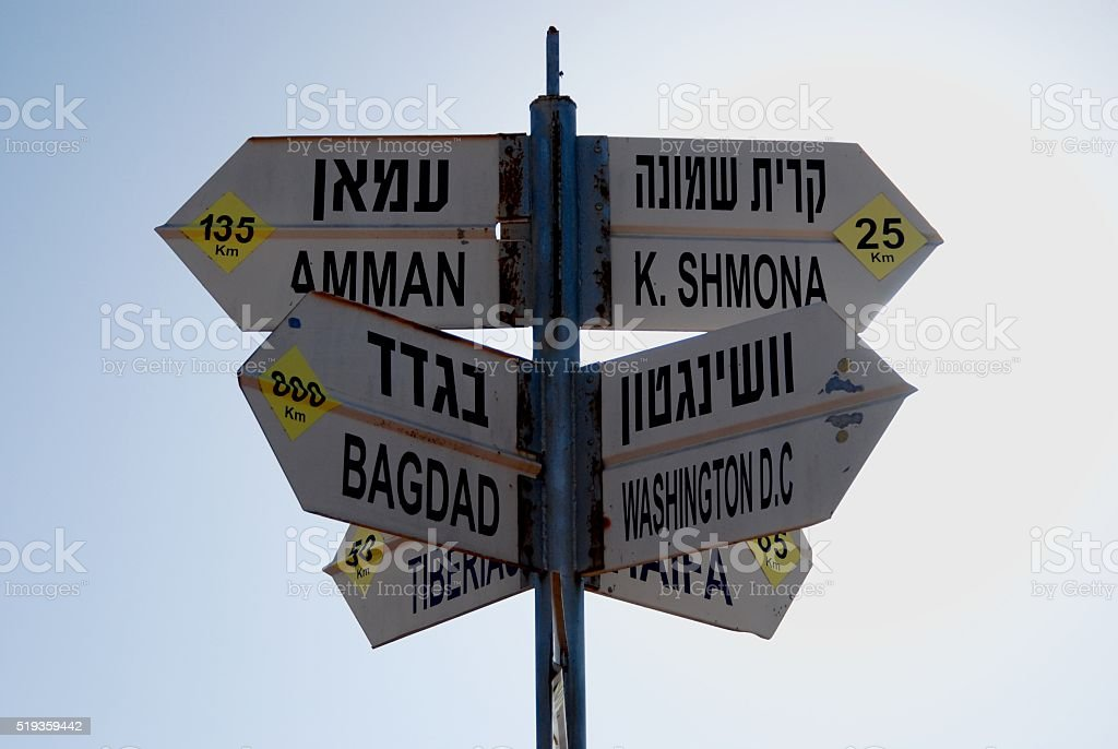Direction Sign at the Golan Heights stock photo