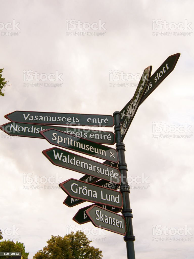 Direction sign in Stockholm, Sweden stock photo