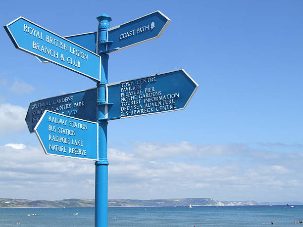 direction sign on a beach in england - belkindesign stock pictures, royalty-free photos & images