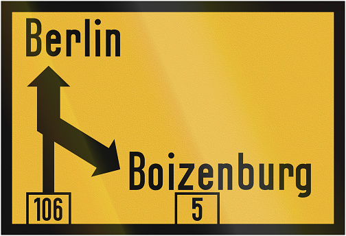 Direction Sign To Berlin 1956