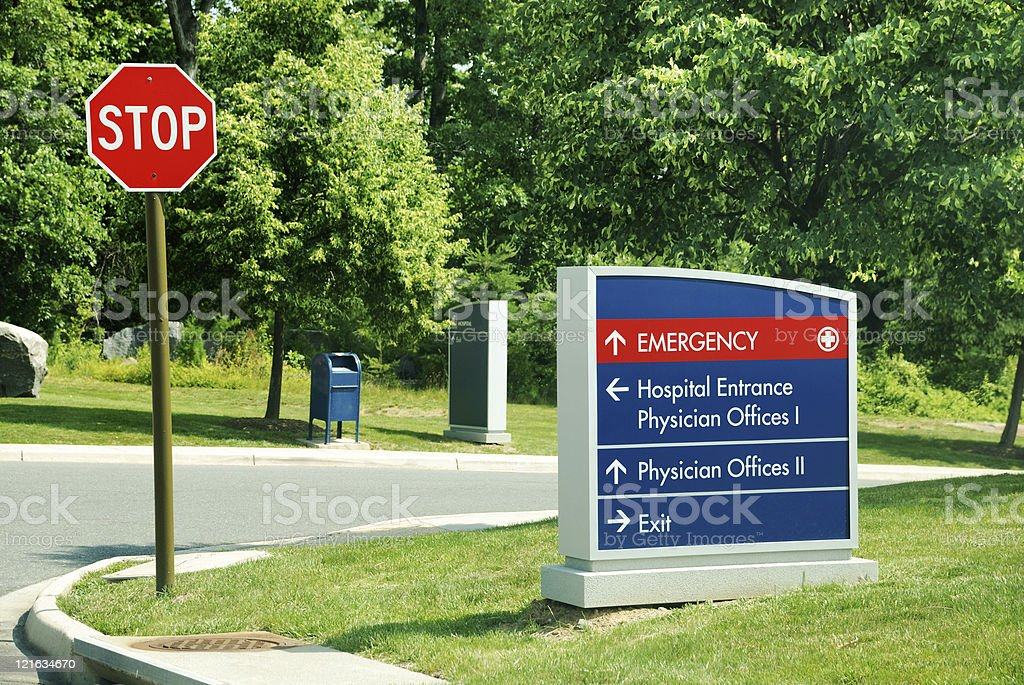 Direction Sign to Hospital Emergency Room