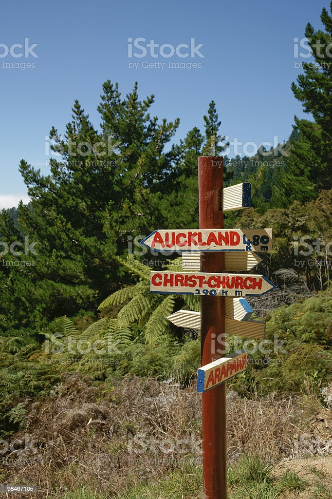 Direction sign, unofficial, Auckland & Christcurch. royalty-free stock photo