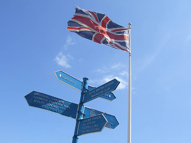 direction sign with great britain flag - belkindesign stock pictures, royalty-free photos & images