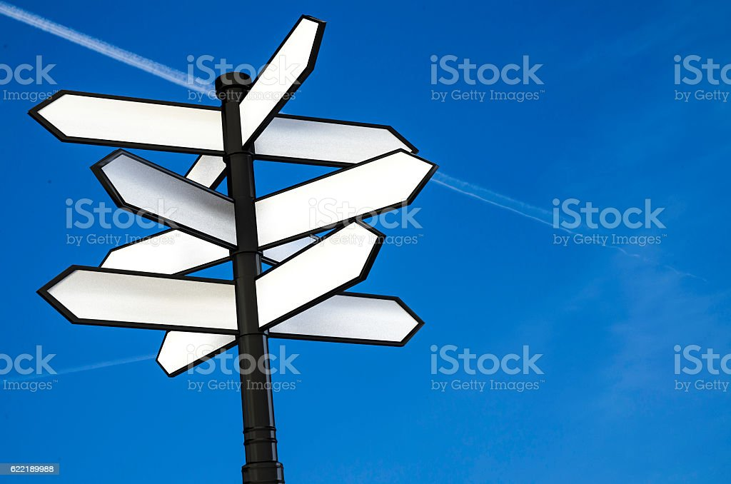 Direction Signpost With Blank Spaces For Text 3d