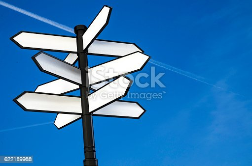 istock direction signpost with blank spaces for text 3d illustration 622189988