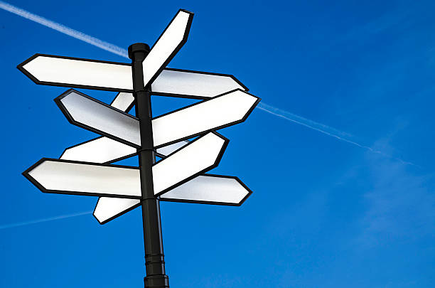 direction signpost with blank spaces for text 3d illustration – Foto