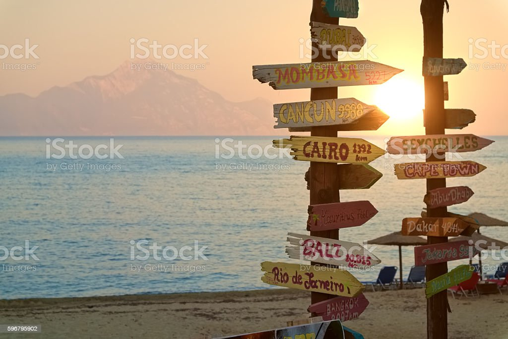 Direction signpost with distance to many different cities – Foto