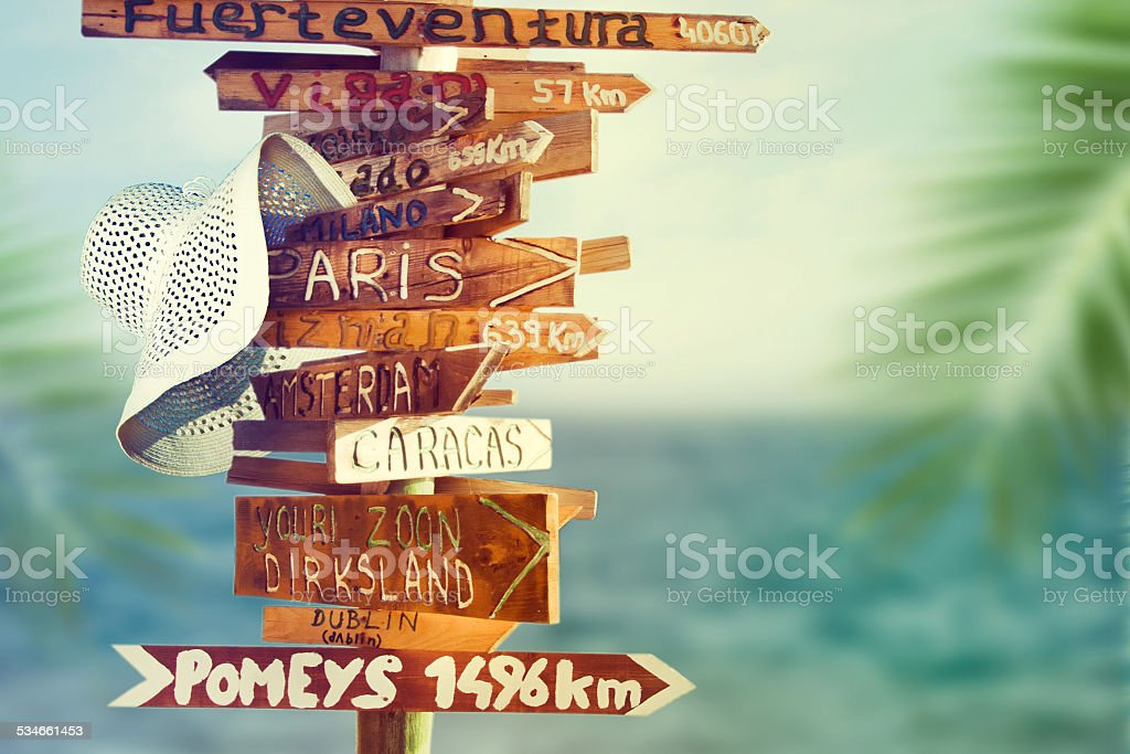 direction signpost with distance to many different countries stock