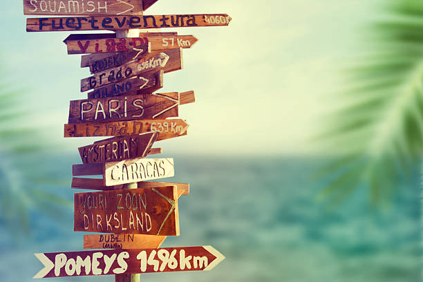 direction signpost with distance to many different countries - directional sign stock photos and pictures