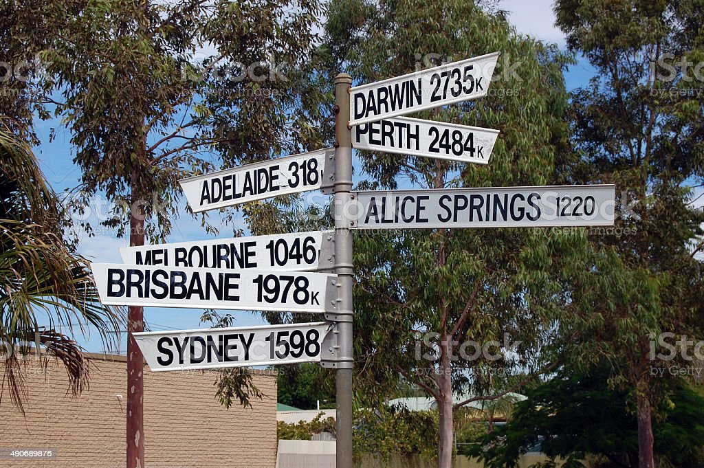 Direction signs Australia stock photo