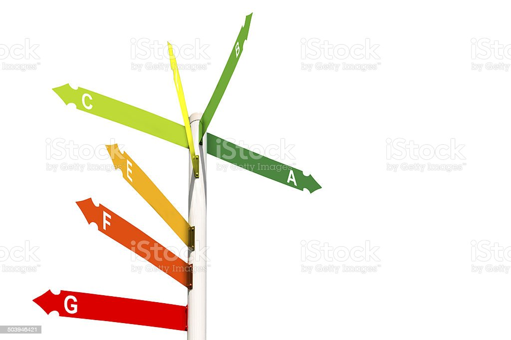 Direction signs showing house energy performance scale stock photo