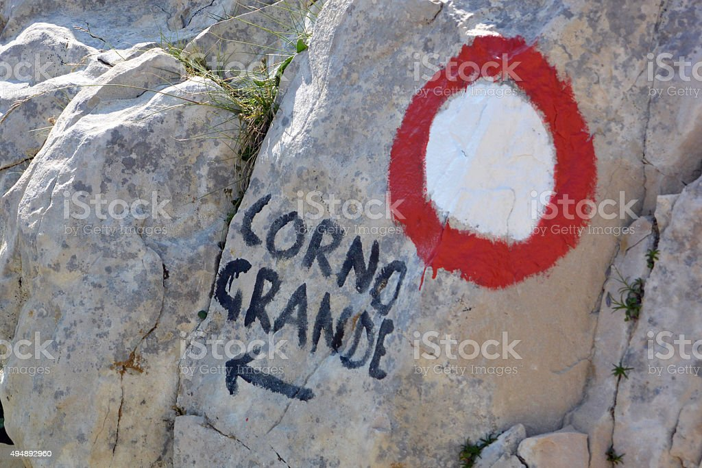 Direction to Corno Grande stock photo