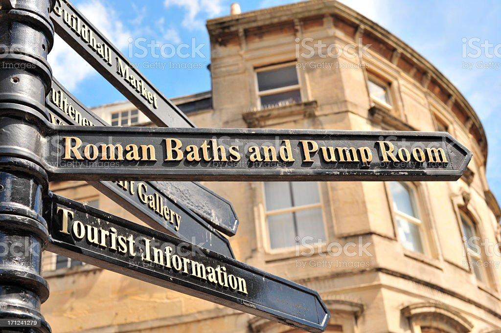Direction to Roman Baths stock photo