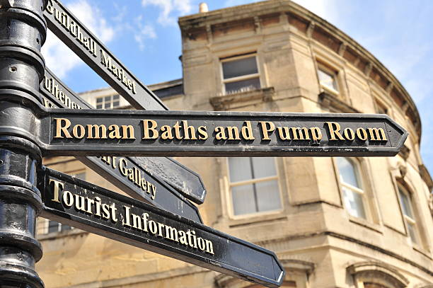 Direction to Roman Baths Picture taken at Bath City, England bath england stock pictures, royalty-free photos & images