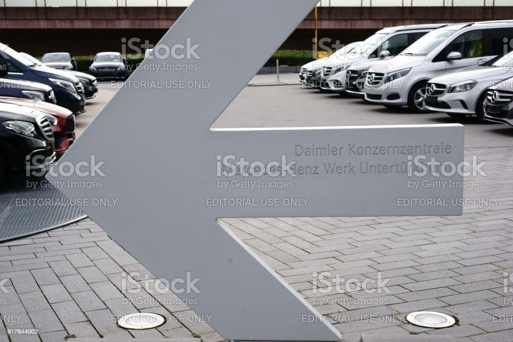 Directional Arrow To The Daimler Head Office Untertuerkheim Stock