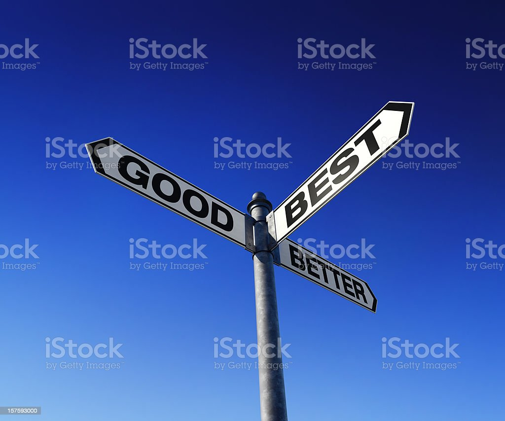 Directional choices arrow signpost stock photo