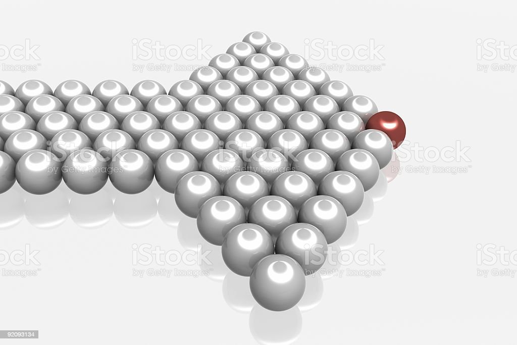 Directional marker made of spheres. 3D image royalty-free stock photo