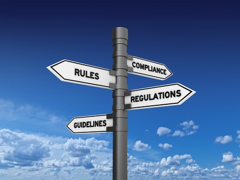 COMPLIANCE RULES REGULATIONS GUIDELINES Directional Sign - 3D Rendering