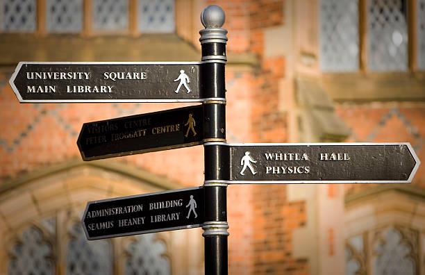 wegweiser in queen's university, belfast, nordirland - bibliothekschilder stock-fotos und bilder