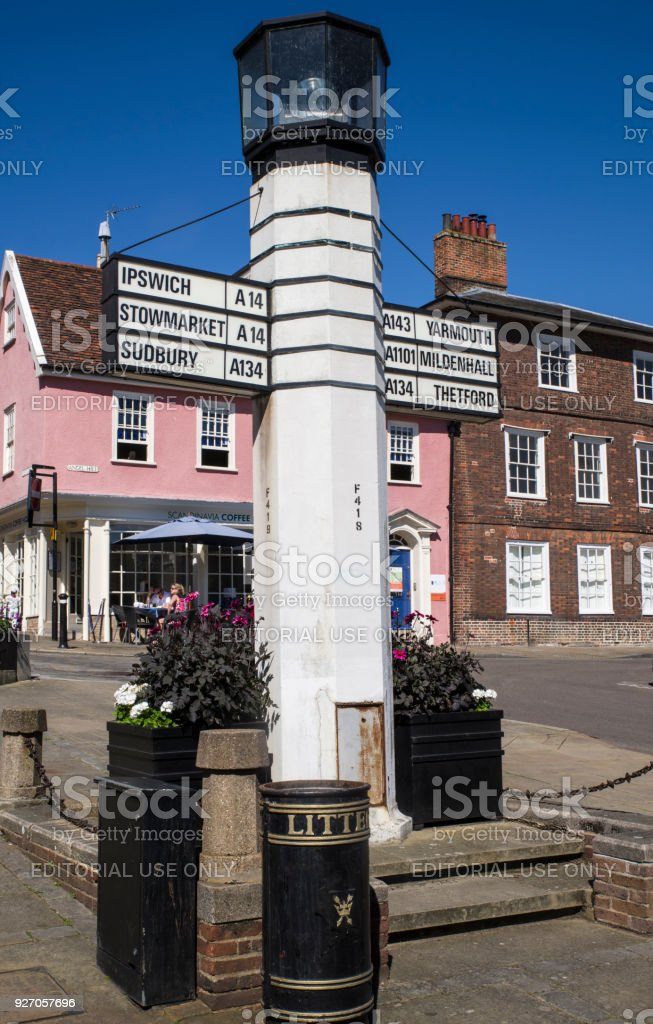 Directional sign in Bury St. Edmunds town centre, UK stock photo