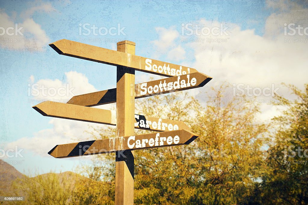 Directional Sign in Cave Creek, Arizona with Vintage Effects stock photo