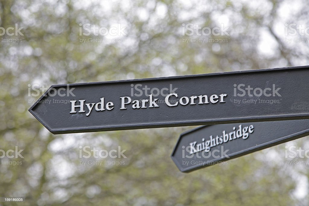 directional sign in Hyde Park stock photo