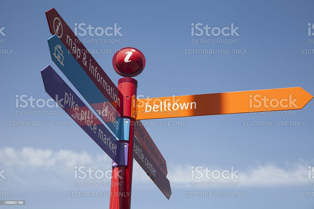 Directional sign in Seattle, WA. stock photo