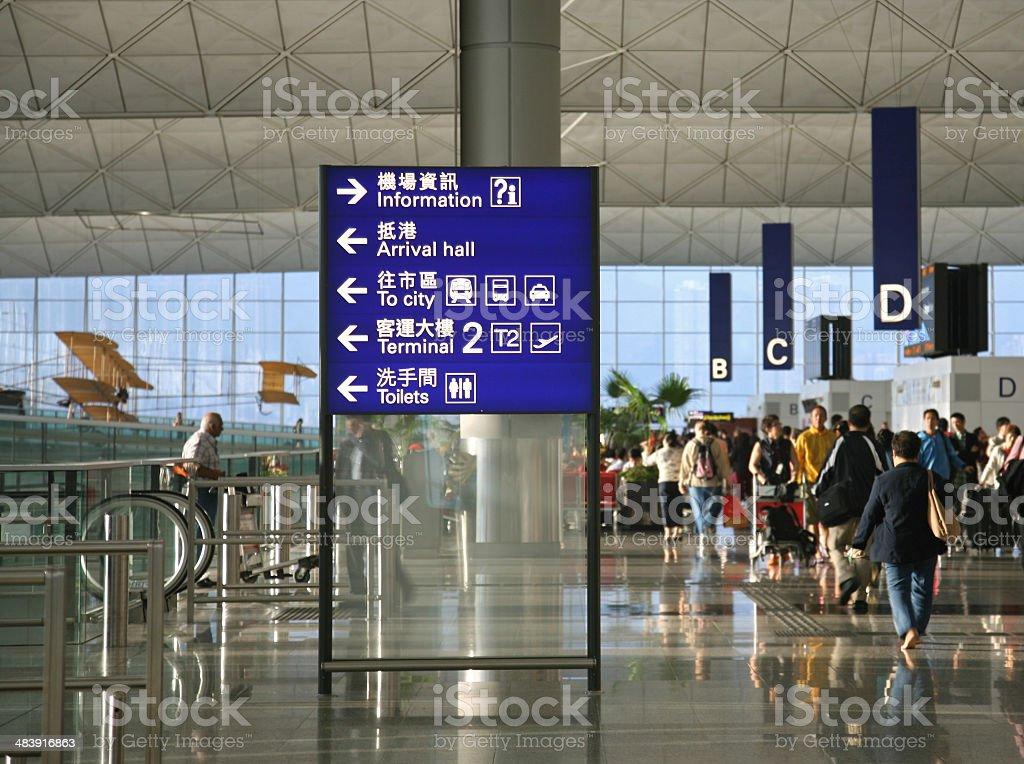 Placa direcional no Terminal do aeroporto - foto de acervo