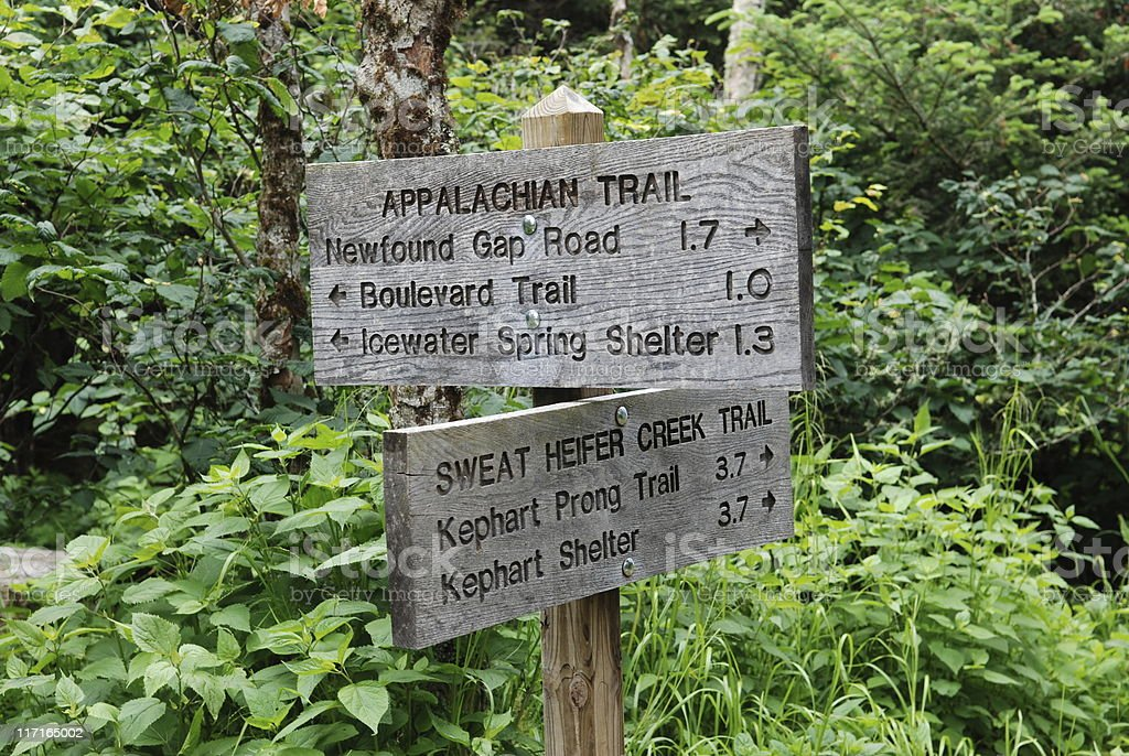 Directional sign on Appalachian Trail in Smoky Mountains stock photo