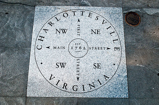 Charlottesville, Virginia Directional sign on the pedestrian mall in Charlottesville, Virginia charlottesville stock pictures, royalty-free photos & images