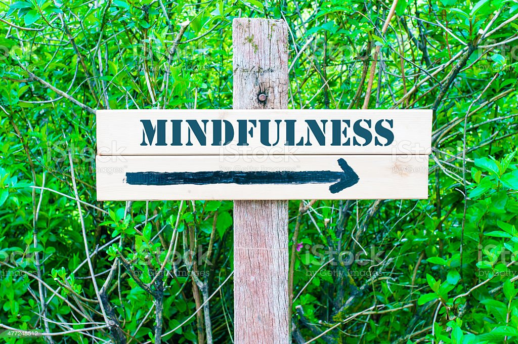 MINDFULNESS Directional sign stock photo