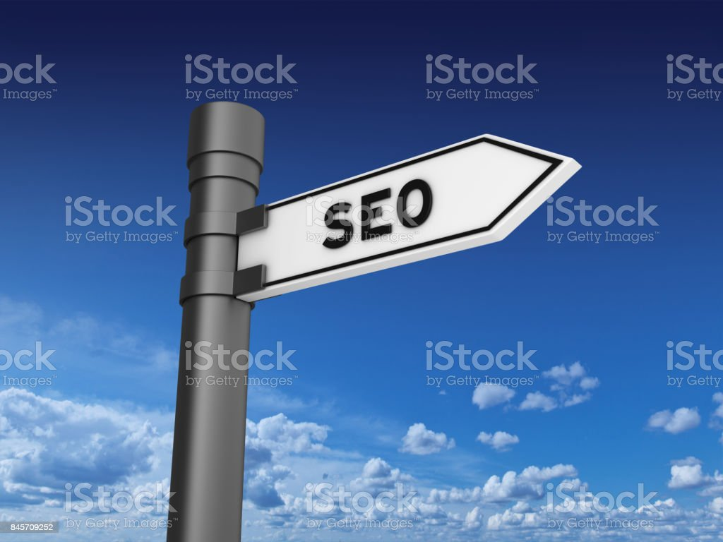 SEO Directional Sign stock photo