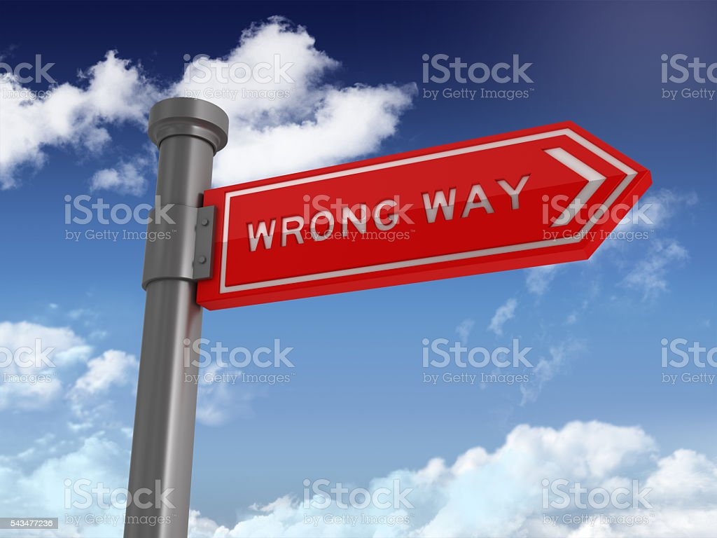 Directional Sign Series:  WRONG WAY stock photo