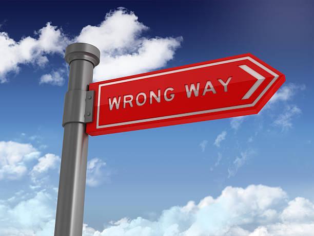 Directional Sign Series:  WRONG WAY stock photo