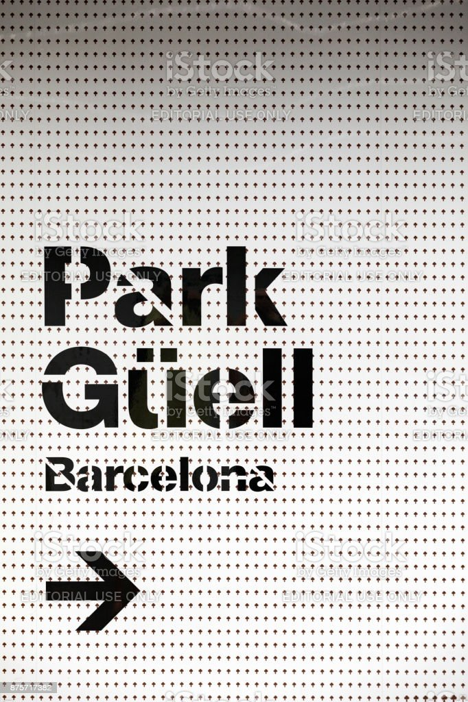 directional sign to Park Guell in Barcelona stock photo