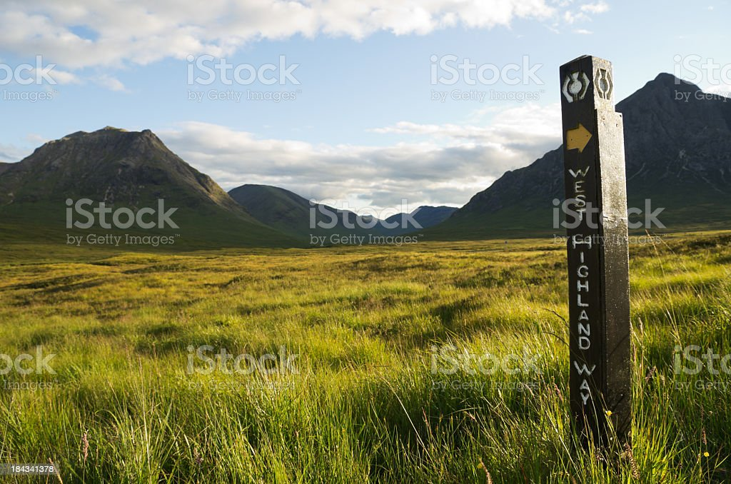 A directional sign to West Highland Way stock photo