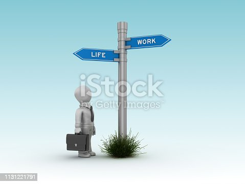 171274866 istock photo LIFE WORK Directional Sign with Business Character - 3D Rendering 1131221791