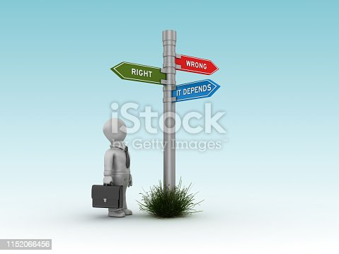 RIGHT WRONG DEPENDS Directional Sign with Business Character - Blue Background - 3D Rendering