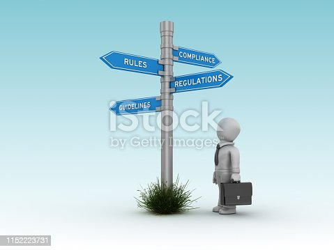 istock COMPLIANCE RULES REGULATIONS GUIDELINES Directional Sign with Business Character - 3D Rendering 1152223731