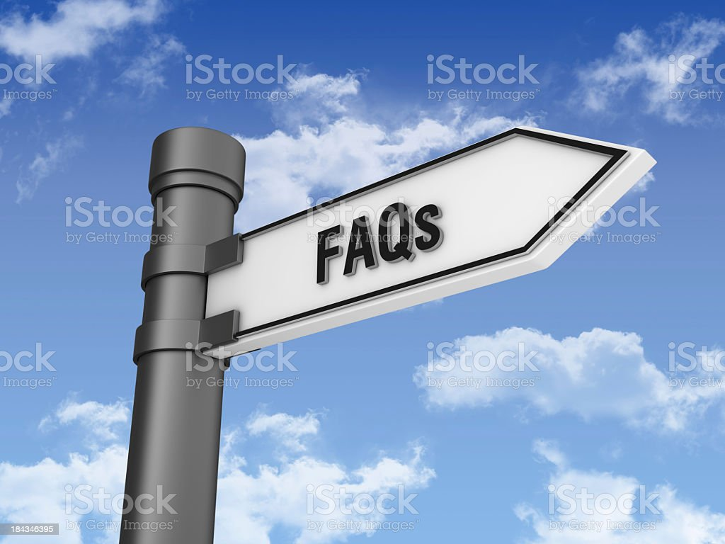 Directional Sign with FAQs and Sky royalty-free stock photo