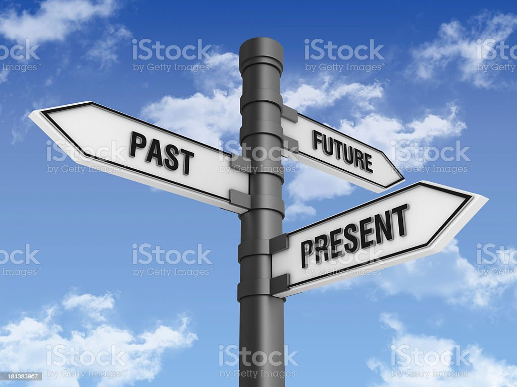 Directional Sign with Past Future Present Words stock photo