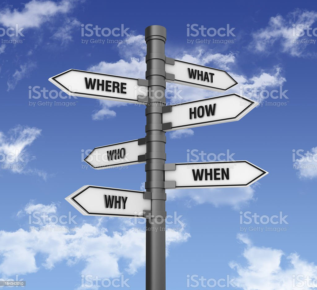 Directional Sign with Questions stock photo