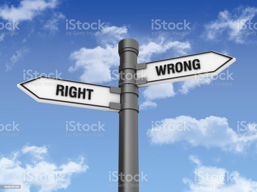 Directional Sign with RIGHT WRONG Words and Sky royalty-free stock photo